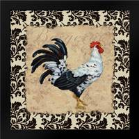 Bergerac Rooster Black I: Framed Art Print by Brent, Paul