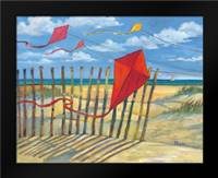 Beach Kites Red: Framed Art Print by Brent, Paul