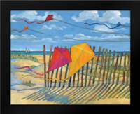 Beach Kites Yellow: Framed Art Print by Brent, Paul