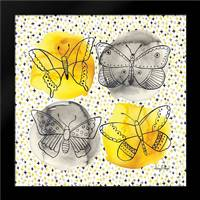 Gray and Yellow Butterflies I: Framed Art Print by Frazer, Amy