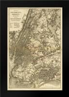 1885 NYC Map: Framed Art Print by Harbick, N.