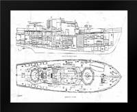 Boat Blueprint 1 wht: Framed Art Print by Stevens, Carole