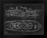 Boat Blueprint 1 blk: Framed Art Print by Stevens, Carole