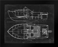 Boat Blueprint 2 blk: Framed Art Print by Stevens, Carole