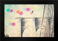 Bright balloons on bridge: Framed Art Print by Davis Ashley