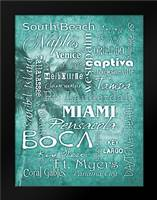 FL Cities Aqua: Framed Art Print by Stimson, Diane