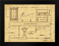 Bath Blueprint 1 Brown: Framed Art Print by Stimson, Diane