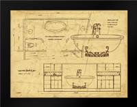 Bath Blueprint 2 Brown: Framed Art Print by Stimson, Diane