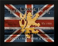 Lion And Flag: Framed Art Print by Stimson, Diane