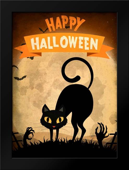 Happy Halloween Black Cat: Framed Art Print by Allen, Kimberly