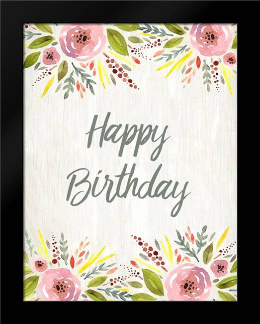 Happy Birthday Watercolor Floral: Framed Art Print by Kimberly, Allen