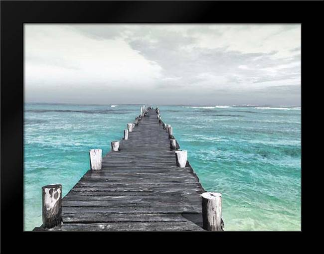 Dock At Sea Recolor: Framed Art Print by Villa, Mlli