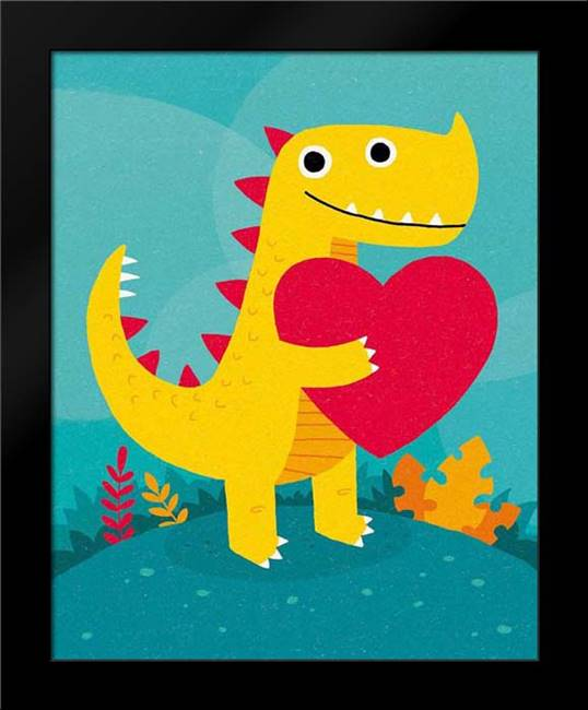 Dino Love: Framed Art Print by Buxton, Michael