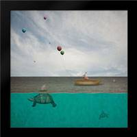 Therea€™s Sharks in these Waters: Framed Art Print by Noblin, Greg