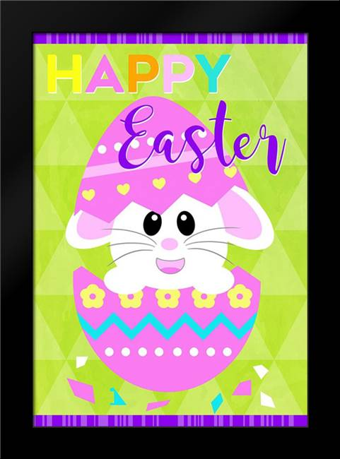 Happy Easter Bunny in Egg: Framed Art Print by Quach, Anna
