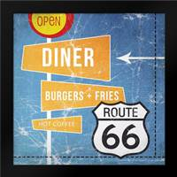 Diner Burgers and Coffee: Framed Art Print by Woods, Linda
