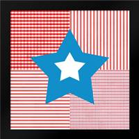 Red White Blue Star: Framed Art Print by Woods, Linda