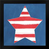 Painted Stripes and Star: Framed Art Print by Woods, Linda