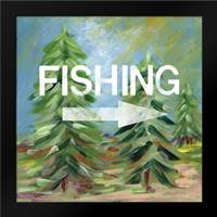 Fishing Sign: Framed Art Print by Woods, Linda