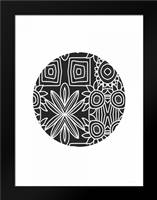 Boho Black and White Ball: Framed Art Print by Woods, Linda