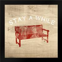 Stay a While Bench: Framed Art Print by Woods, Linda