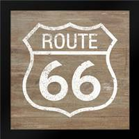Route 66 White on Wood: Framed Art Print by Woods, Linda