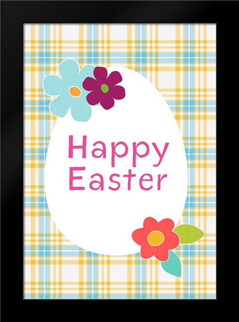 Happy Easter Blue Plaid: Framed Art Print by Woods, Linda