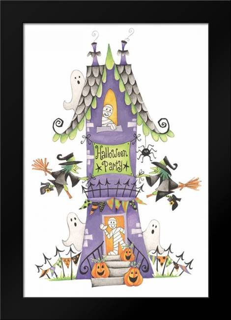 Halloween Party House: Framed Art Print by P.S. Art Studios