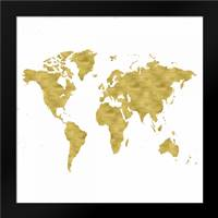 World Map Burnished Gold: Framed Art Print by Murdock, Ramona