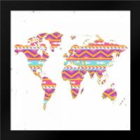 World Map Kilim and Gold: Framed Art Print by Murdock, Ramona
