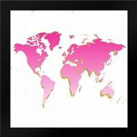 World Map Pink and Gold: Framed Art Print by Murdock, Ramona