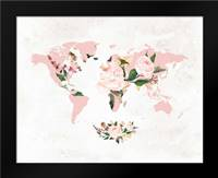 Floral Watercolor Map: Framed Art Print by Moss, Tara