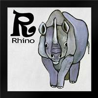 R - Rhino: Framed Art Print by Welsh, Shanni