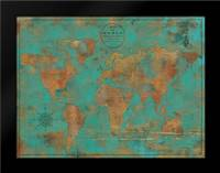 Rustic World Map: Framed Art Print by Elaine-Cusson, Marie