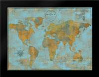 Rustic World Map Sky Blue: Framed Art Print by Elaine-Cusson, Marie