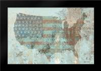 Vintage USA Map: Framed Art Print by Cusson, Marie Elaine