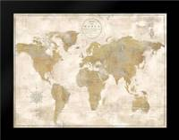 Rustic World Map Cream No Words: Framed Art Print by Cusson, Marie Elaine