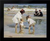 Children Playing At The Seashore: Framed Art Print by Potthast, Edward Henry