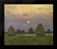 Haystacks Twilight, 1899: Framed Art Print by Levitan, Isaac