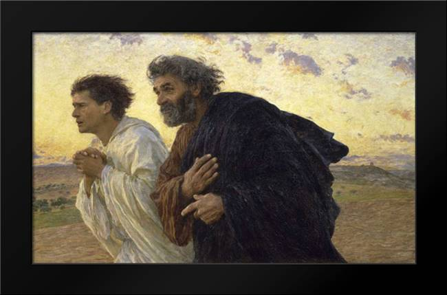 Disciples Peter and John Rushing To The Sepulcherthe Morning of The Resurrection: Framed Art Print by Burnand, Eugene