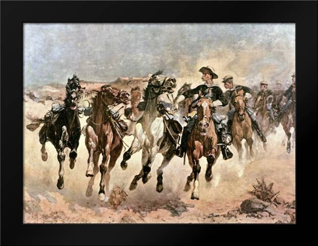 Dismounted: The 4th Troopers Moving: Framed Art Print by Remington, Frederic