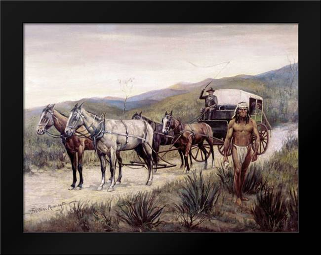 Halted Stagecoach: Framed Art Print by Remington, Frederic