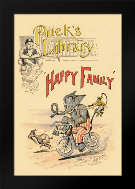 Happy Family: Framed Art Print by Vintage Elephant