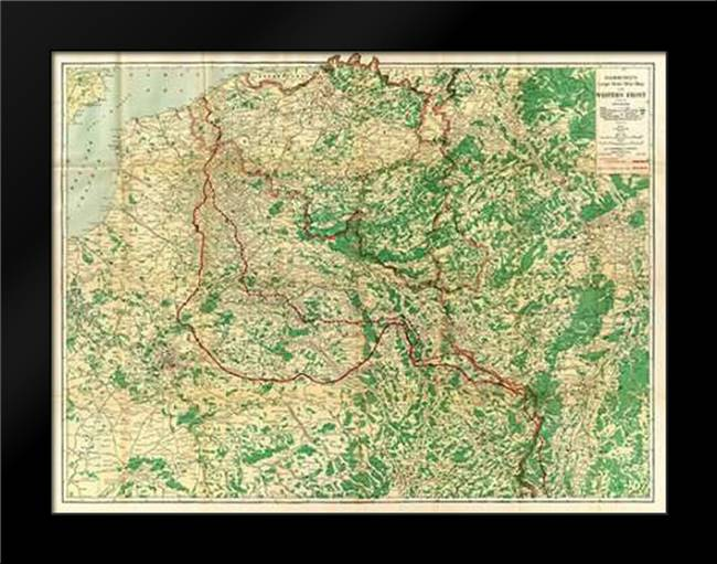 Hammonds Large Scale War Map of the Western Front, 1917: Framed Art Print by Hammond, C.S.