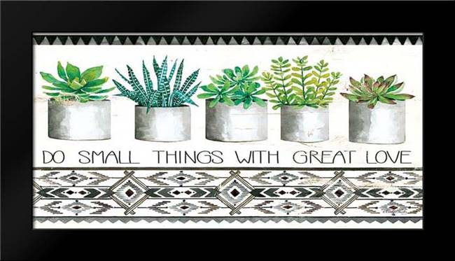 Do Small Things Succulents: Framed Art Print by Jacobs, Cindy