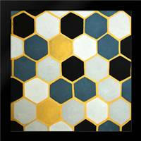 BLUE CELLS GEOMETRIC: Framed Art Print by Atelier B Art Studio