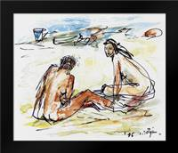 Two women on the seashore abstract: Framed Art Print by Sotgiu, Salvatore