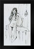 Naked woman in bedroom wait: Framed Art Print by Sotgiu, Salvatore