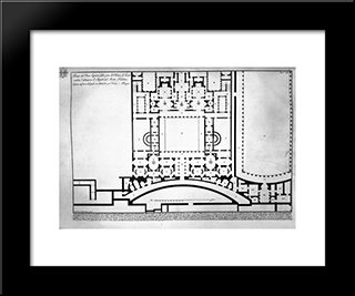 The Roman Antiquities, T. 1, Plate Xliv. Plan Of Mount Capitoline And Its Fortress: Modern Black Framed Art Print by Giovanni Battista Piranesi