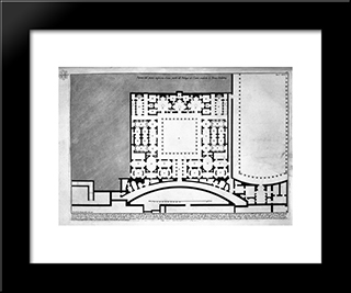 The Roman Antiquities, T. 1, Plate Xlv. Plan Of Upper Floor Of The Caesars Palace De `D` Home `S Believed Augustus (Drawing And Inc. By Francesco Piranesi): Modern Black Framed Art Print by Giovanni Battista Piranesi